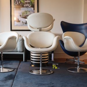 House of Pac - White leather Artifort little tulips by Pierre Paulin